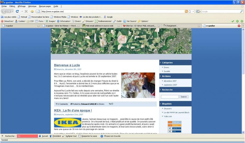 Copie d'écran de mon premier blog